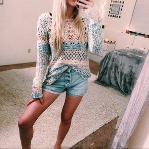 Free People Pastel Crochet Knit Sweater Sz M Boho